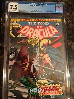 Tomb of Dracula #10 CGC 7.5 WHITE 1st Blade The Vampire Slayer UNPRESSED