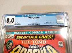 Tomb of Dracula #1 CGC 8.0 White Pages 1st Appearance of Dracula MCU Movie
