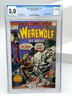 Werewolf By Night 32 CGC 5.0 Off-White Pages 1975 1st Moon Knight Marc Spector