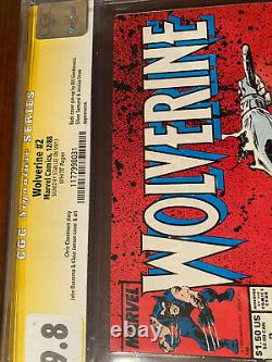 Wolverine #2 12/88 Cgc 9.8 White Pages Ss Stan Lee! Nice Signed Book