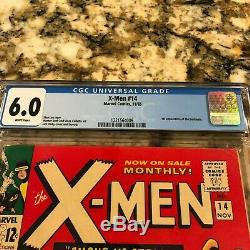 X-men #14 Cgc 6.0 Rare White Pages 1st Appearance Of The Sentinels Hot Mcu Movie